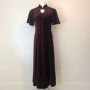 90s Victorian burgundy velvet maxi dress